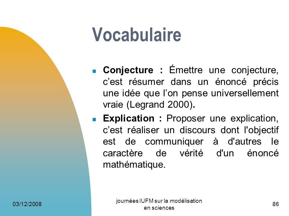 03/12/2008 journées IUFM sur la modélisation en sciences 86 Vocabulaire Conjecture : Émettre une conjecture, cest résumer dans un énoncé précis une id
