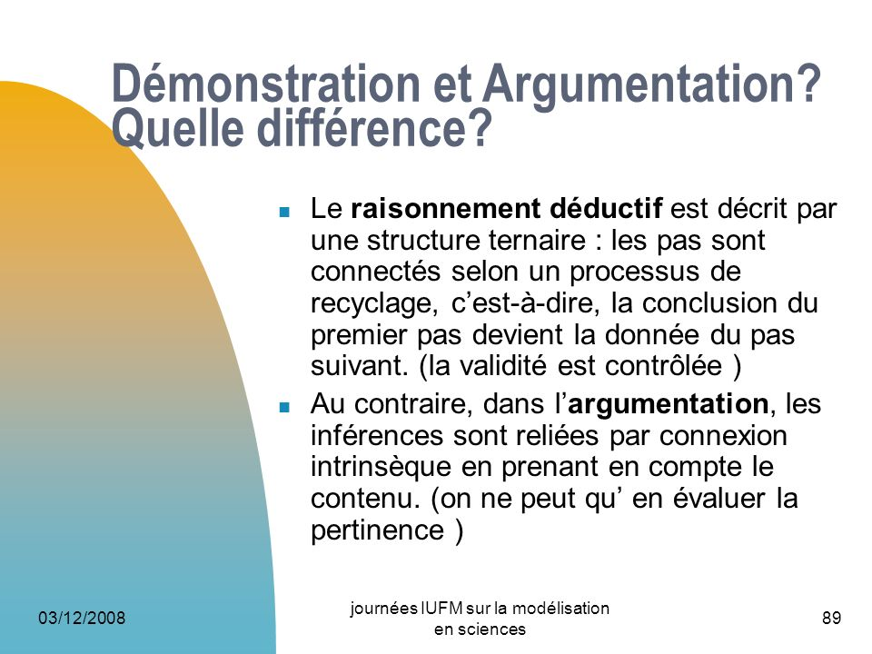 03/12/2008 journées IUFM sur la modélisation en sciences 89 Démonstration et Argumentation? Quelle différence? Le raisonnement déductif est décrit par