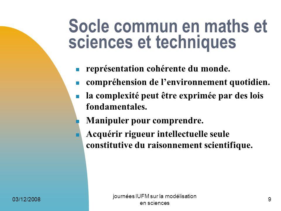 03/12/2008 journées IUFM sur la modélisation en sciences 9 Socle commun en maths et sciences et techniques représentation cohérente du monde. compréhe