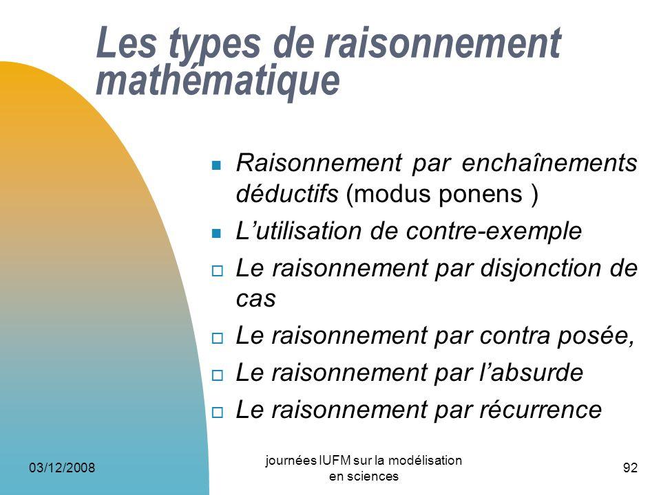 03/12/2008 journées IUFM sur la modélisation en sciences 92 Les types de raisonnement mathématique Raisonnement par enchaînements déductifs (modus pon