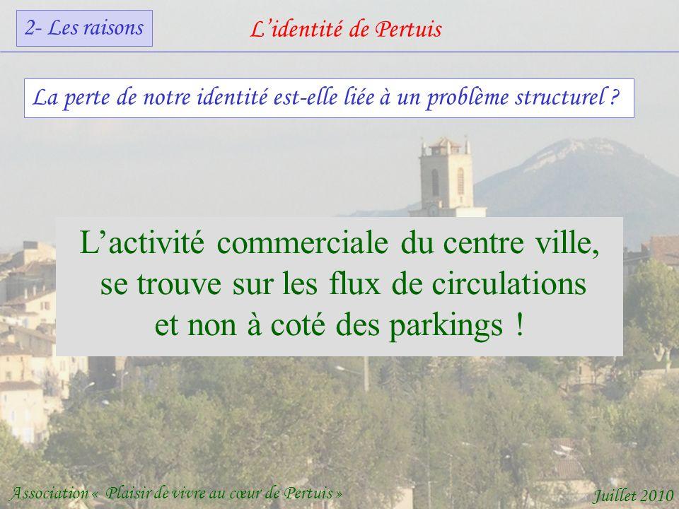 Lidentité de Pertuis Association « Plaisir de vivre au cœur de Pertuis » Juillet 2010 La perte de notre identité est-elle liée à un problème structurel .
