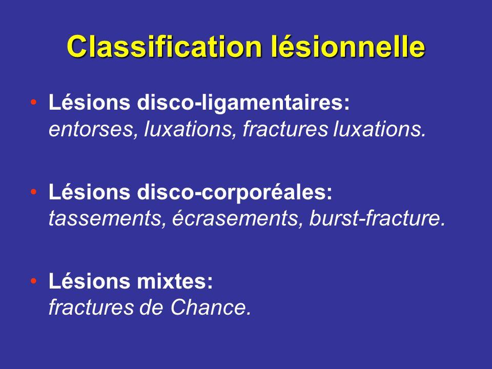 Classification lésionnelle Lésions disco-ligamentaires: entorses, luxations, fractures luxations. Lésions disco-corporéales: tassements, écrasements,