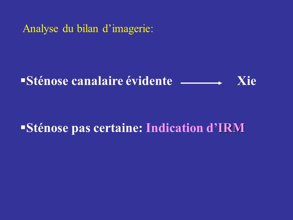 Analyse du bilan dimagerie: Sténose canalaire évidente Xie IRM Sténose pas certaine: Indication dIRM