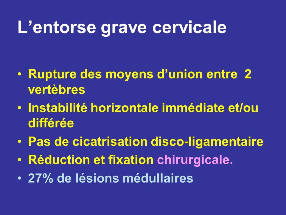 Lentorse grave cervicale Rupture des moyens dunion entre 2 vertèbres Instabilité horizontale immédiate et/ou différée Pas de cicatrisation disco-ligam