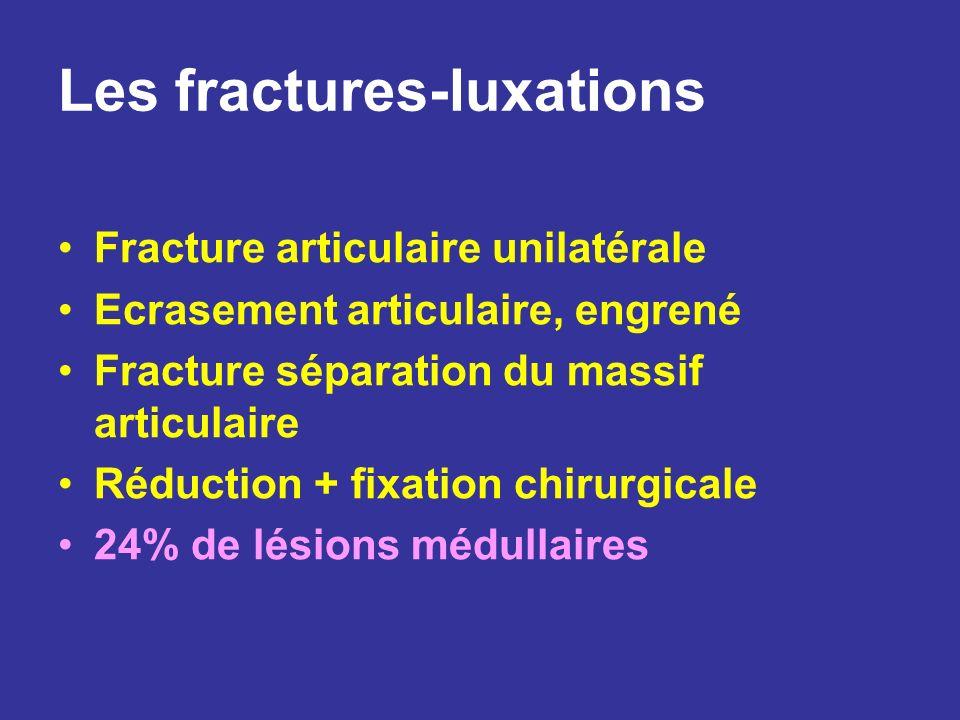 Les fractures-luxations Fracture articulaire unilatérale Ecrasement articulaire, engrené Fracture séparation du massif articulaire Réduction + fixatio