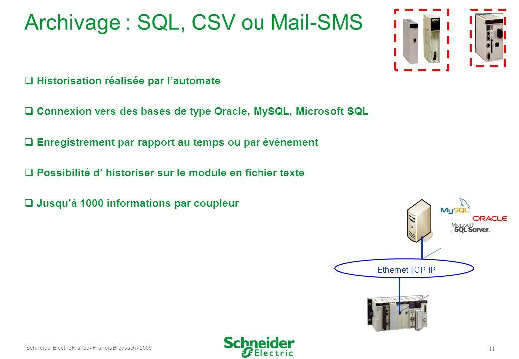 Schneider Electric France 11 - Francis Breysach - 2009 Archivage : SQL, CSV ou Mail-SMS Historisation réalisée par lautomate Connexion vers des bases