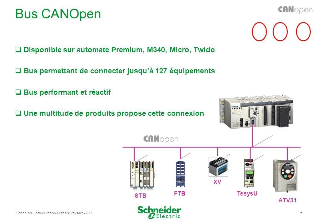Schneider Electric France 7 - Francis Breysach - 2009 Bus CANOpen Disponible sur automate Premium, M340, Micro, Twido Bus permettant de connecter jusquà 127 équipements Bus performant et réactif Une multitude de produits propose cette connexion STB FTB ATV31 XV TesysU
