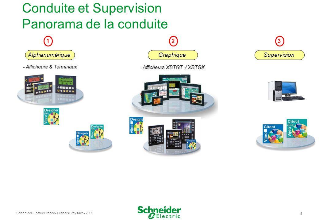 Schneider Electric France 8 - Francis Breysach - 2009 Conduite et Supervision Panorama de la conduite 123 - Afficheurs & Terminaux - Afficheurs XBTGT / XBTGK AlphanumériqueGraphiqueSupervision