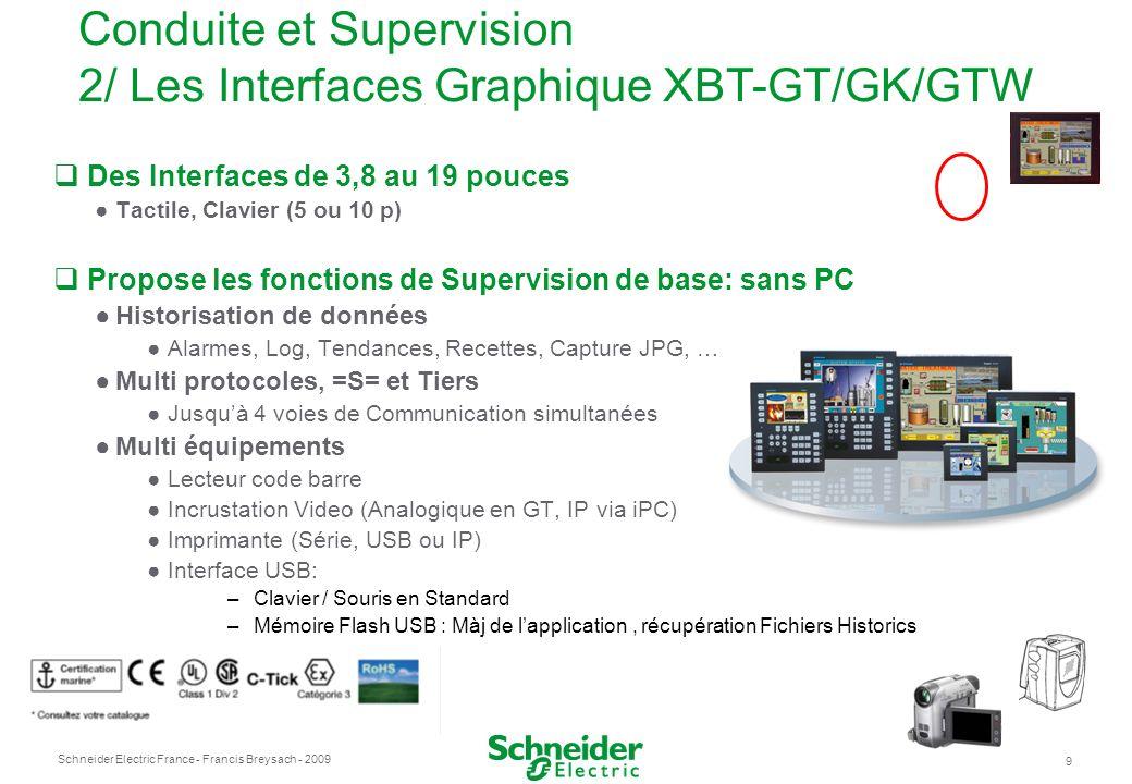 Schneider Electric France 9 - Francis Breysach - 2009 Des Interfaces de 3,8 au 19 pouces Tactile, Clavier (5 ou 10 p) Propose les fonctions de Supervi