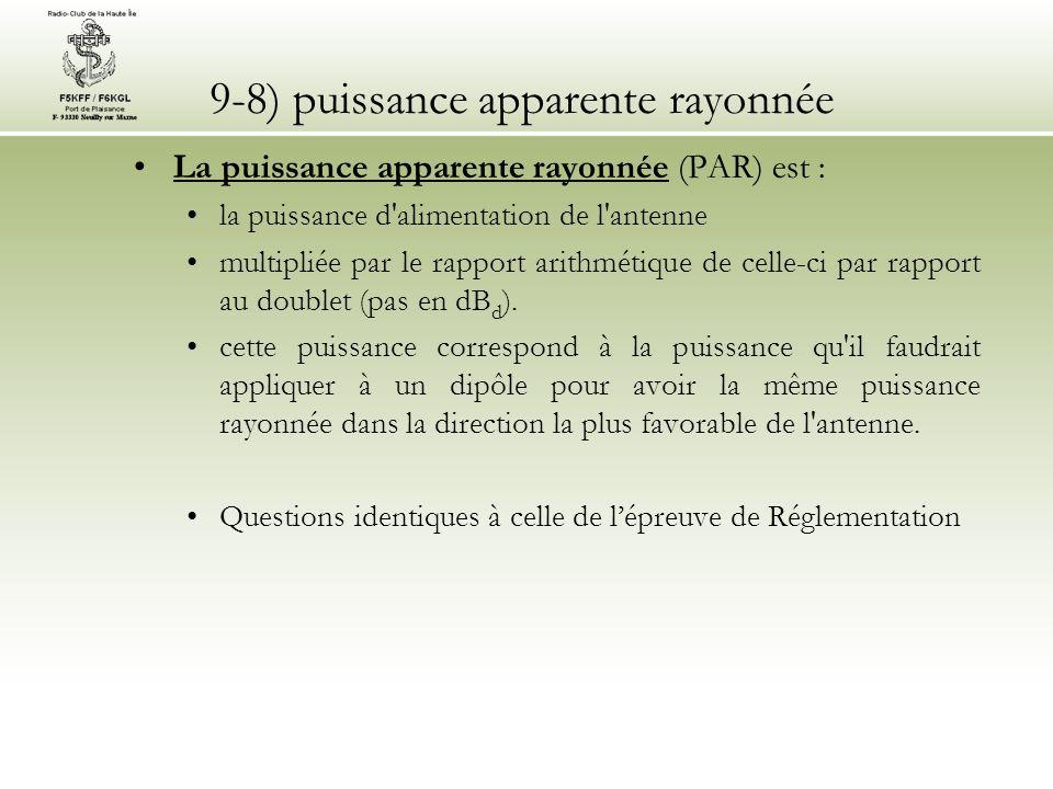 9-8) puissance apparente rayonnée La puissance apparente rayonnée (PAR) est : la puissance d'alimentation de l'antenne multipliée par le rapport arith