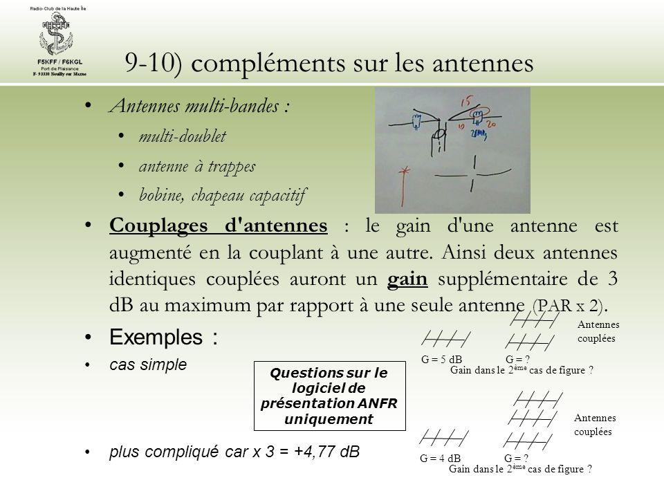 9-10) compléments sur les antennes Antennes multi-bandes : multi-doublet antenne à trappes bobine, chapeau capacitif Couplages d antennes : le gain d une antenne est augmenté en la couplant à une autre.