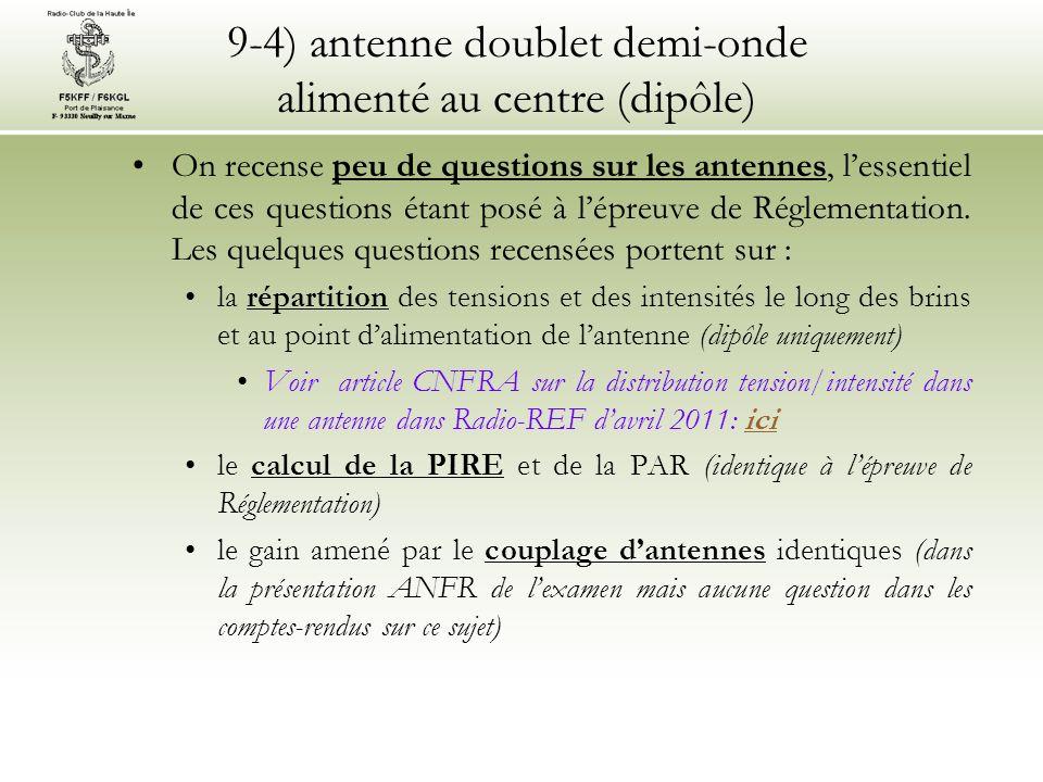 9-4) antenne doublet demi-onde alimenté au centre (dipôle) On recense peu de questions sur les antennes, lessentiel de ces questions étant posé à lépreuve de Réglementation.