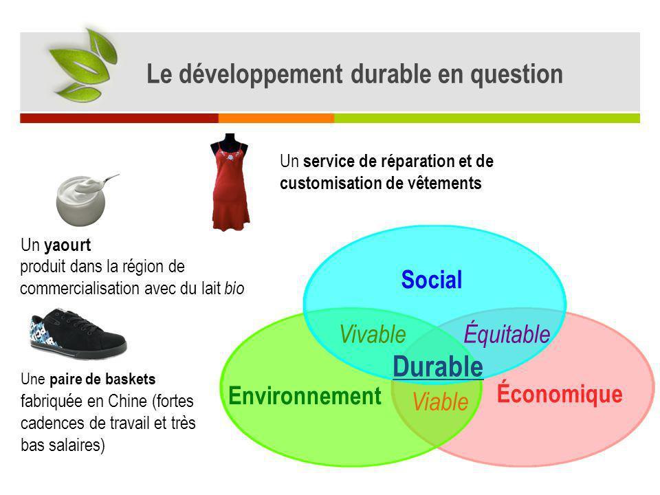Le développement durable en question Économique Environnement Social Viable VivableÉquitable Durable Un yaourt Une paire de baskets Un service de répa