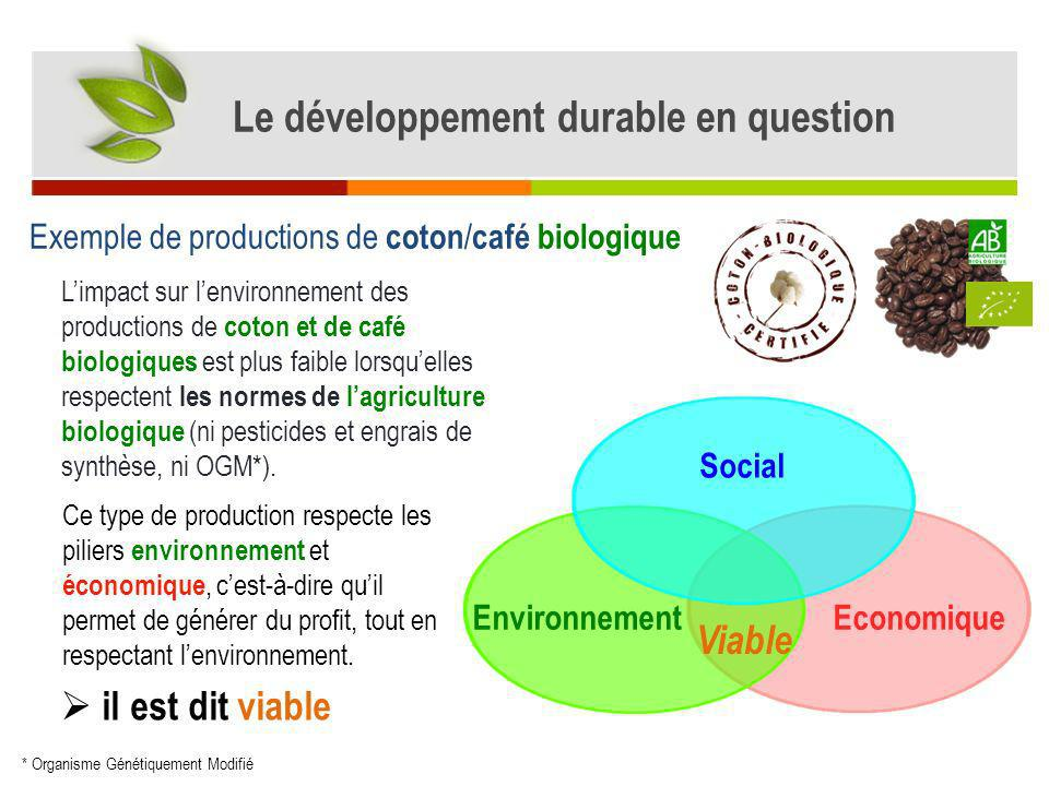 Exemple de productions de coton / café biologique Limpact sur lenvironnement des productions de coton et de café biologiques est plus faible lorsquell