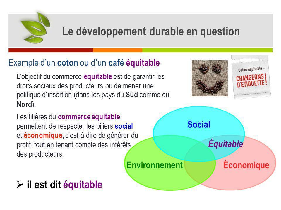 Exemple dun coton ou dun café équitable ÉconomiqueEnvironnement Social Lobjectif du commerce équitable est de garantir les droits sociaux des producte