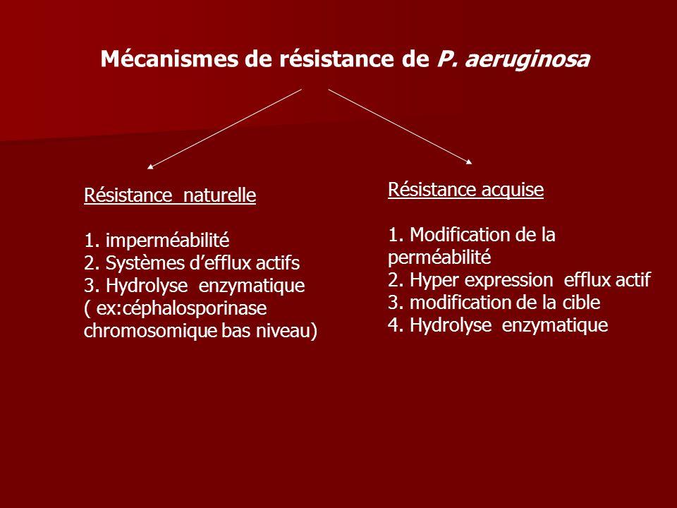 Résistance naturelle 1. imperméabilité 2. Systèmes defflux actifs 3. Hydrolyse enzymatique ( ex:céphalosporinase chromosomique bas niveau) Mécanismes