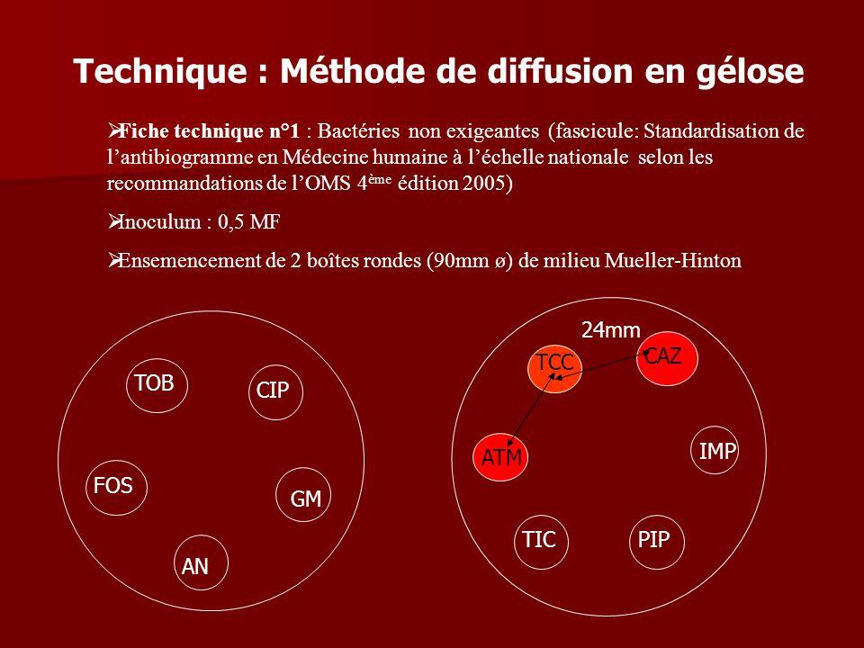 Technique : Méthode de diffusion en gélose Fiche technique n°1 : Bactéries non exigeantes (fascicule: Standardisation de lantibiogramme en Médecine hu
