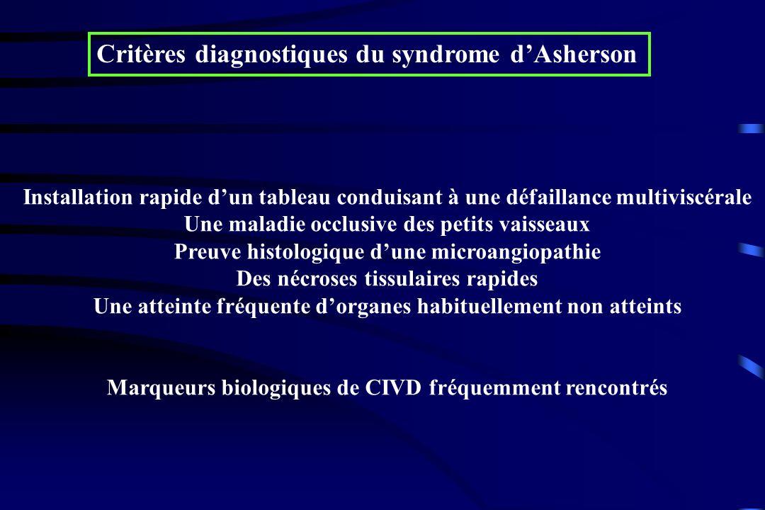 Critères diagnostiques du syndrome dAsherson Installation rapide dun tableau conduisant à une défaillance multiviscérale Une maladie occlusive des pet