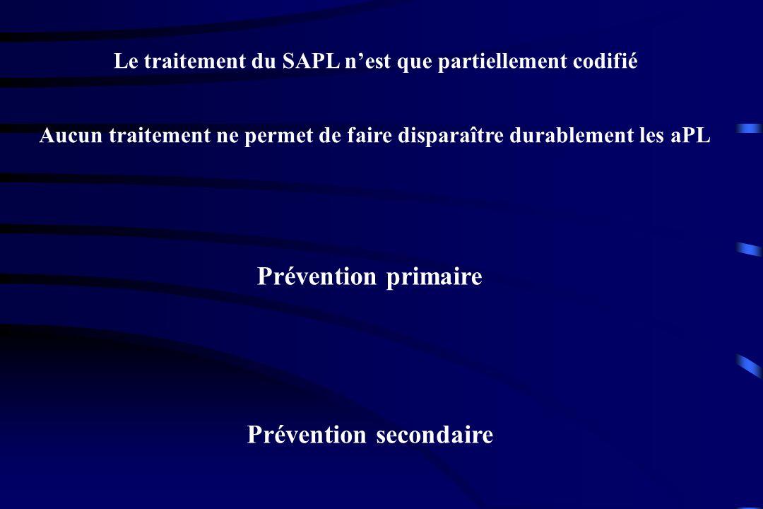 Le traitement du SAPL nest que partiellement codifié Aucun traitement ne permet de faire disparaître durablement les aPL Prévention primaire Préventio