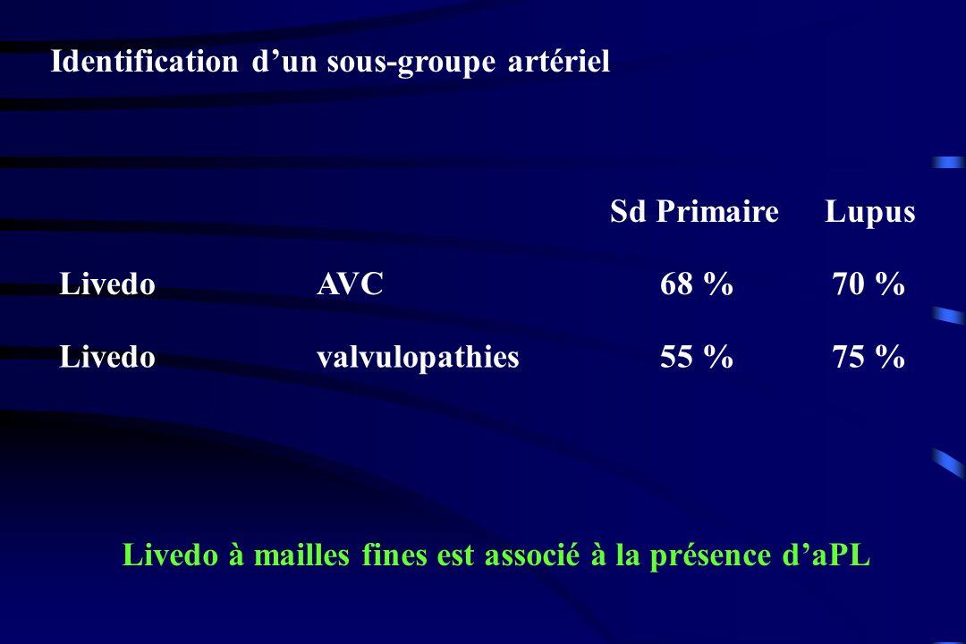 Identification dun sous-groupe artériel LivedoAVC68 %70 % Livedovalvulopathies55 %75 % Sd Primaire Lupus Livedo à mailles fines est associé à la prése