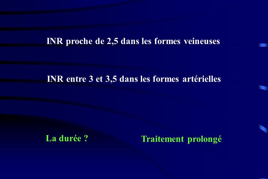 INR proche de 2,5 dans les formes veineuses INR entre 3 et 3,5 dans les formes artérielles La durée ? Traitement prolongé