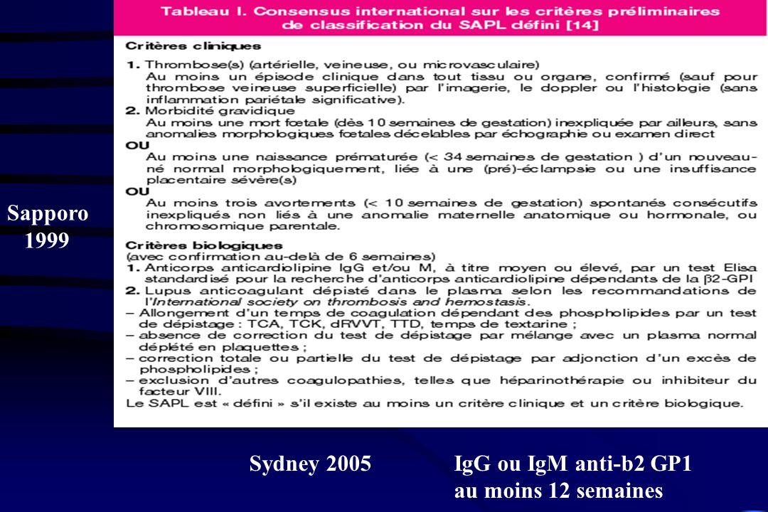 Sydney 2005 IgG ou IgM anti-b2 GP1 au moins 12 semaines Sapporo 1999