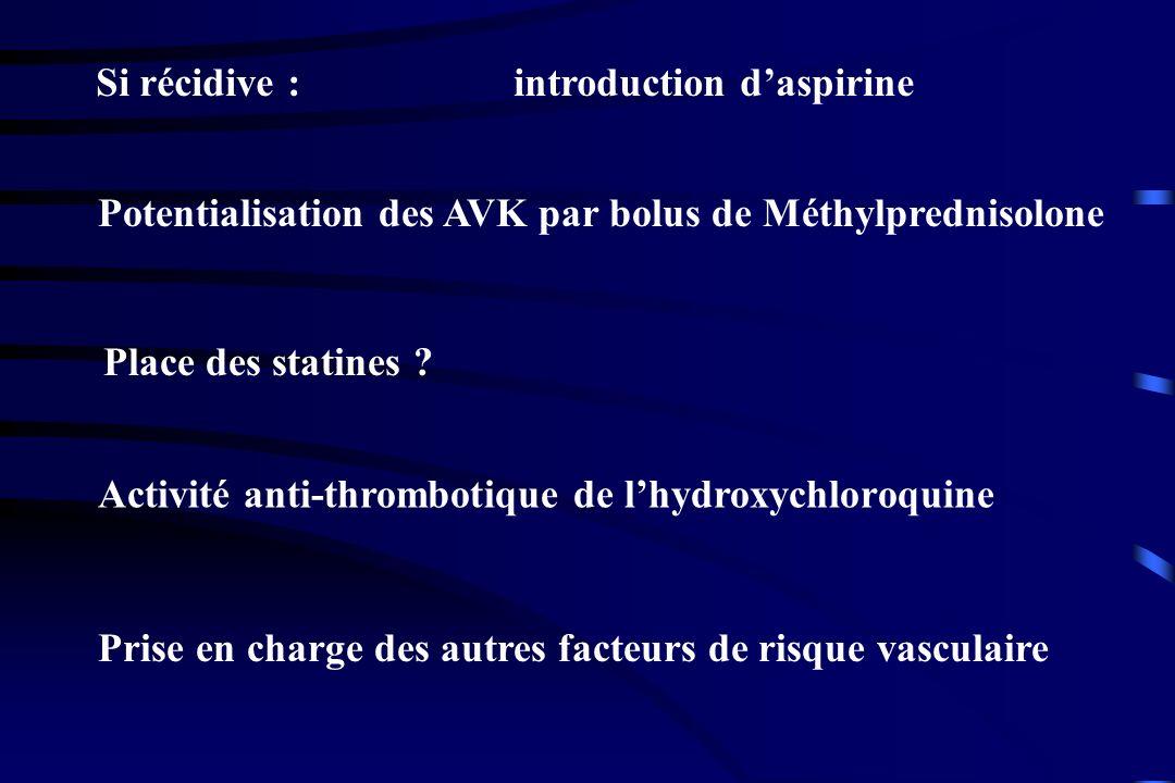 Si récidive : introduction daspirine Potentialisation des AVK par bolus de Méthylprednisolone Place des statines ? Activité anti-thrombotique de lhydr