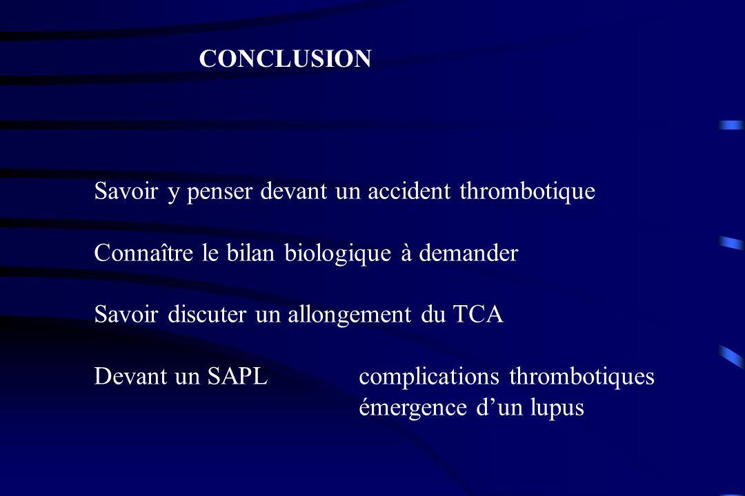 CONCLUSION Savoir y penser devant un accident thrombotique Connaître le bilan biologique à demander Savoir discuter un allongement du TCA Devant un SA