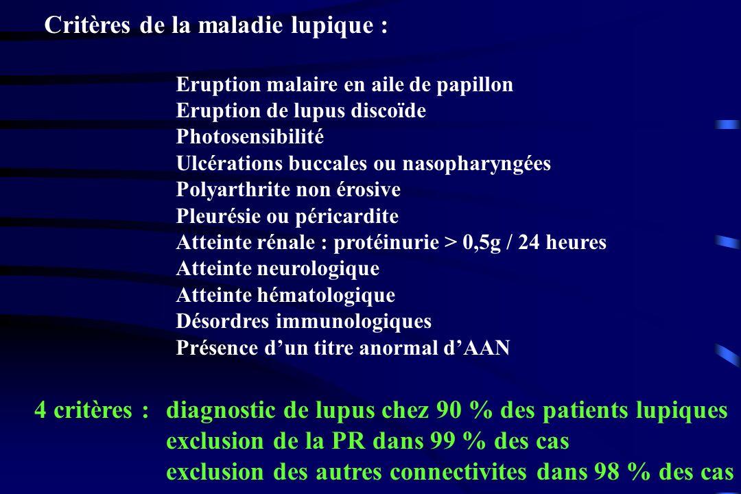 Critères de la maladie lupique : Eruption malaire en aile de papillon Eruption de lupus discoïde Photosensibilité Ulcérations buccales ou nasopharyngé