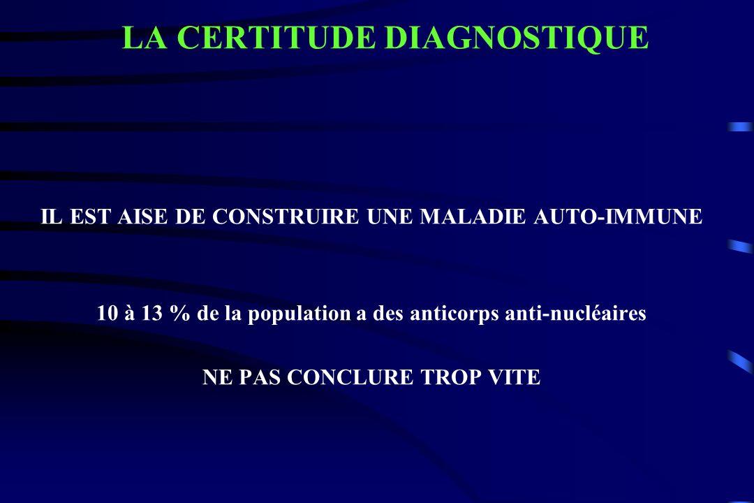 IL EST AISE DE CONSTRUIRE UNE MALADIE AUTO-IMMUNE 10 à 13 % de la population a des anticorps anti-nucléaires NE PAS CONCLURE TROP VITE LA CERTITUDE DI