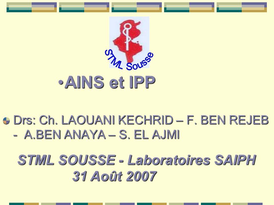 AINS et IPPAINS et IPP Drs: Ch. LAOUANI KECHRID – F. BEN REJEB - A.BEN ANAYA – S. EL AJMI STML SOUSSE - Laboratoires SAIPH 31 Août 2007