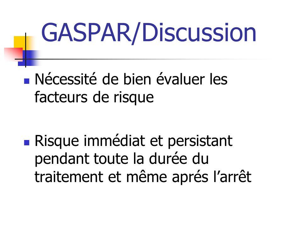 GASPAR/Discussion Nécessité de bien évaluer les facteurs de risque Risque immédiat et persistant pendant toute la durée du traitement et même aprés larrêt