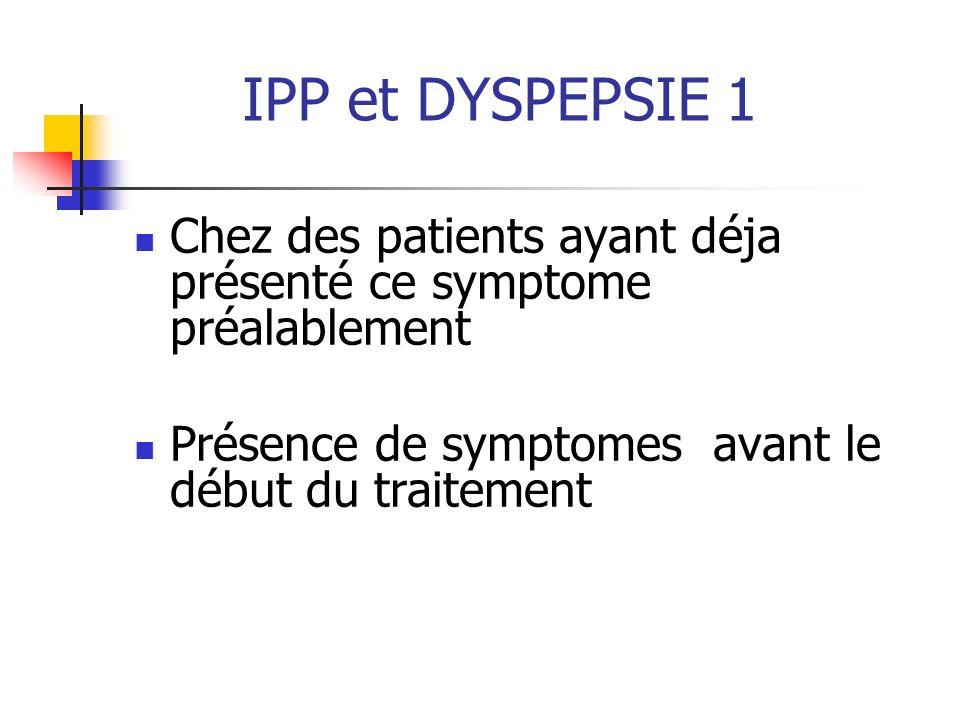 IPP et DYSPEPSIE 1 Chez des patients ayant déja présenté ce symptome préalablement Présence de symptomes avant le début du traitement