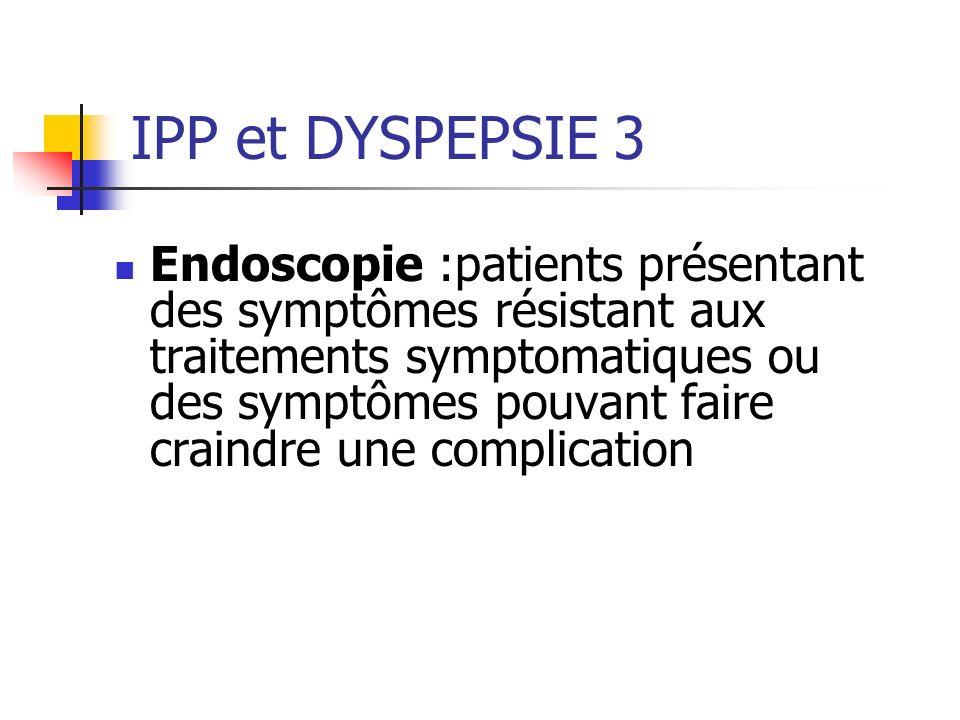Endoscopie :patients présentant des symptômes résistant aux traitements symptomatiques ou des symptômes pouvant faire craindre une complication IPP et DYSPEPSIE 3