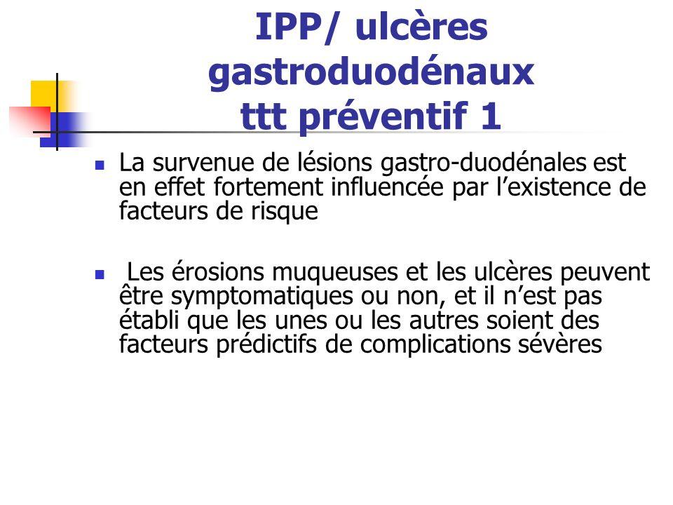 IPP/ ulcères gastroduodénaux ttt préventif 1 La survenue de lésions gastro-duodénales est en effet fortement influencée par lexistence de facteurs de risque Les érosions muqueuses et les ulcères peuvent être symptomatiques ou non, et il nest pas établi que les unes ou les autres soient des facteurs prédictifs de complications sévères