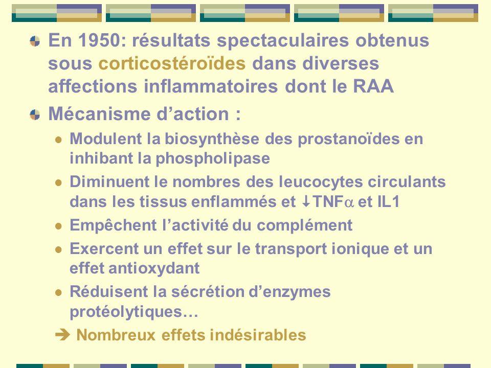 En 1950: résultats spectaculaires obtenus sous corticostéroïdes dans diverses affections inflammatoires dont le RAA Mécanisme daction : Modulent la biosynthèse des prostanoïdes en inhibant la phospholipase Diminuent le nombres des leucocytes circulants dans les tissus enflammés et TNF et IL1 Empêchent lactivité du complément Exercent un effet sur le transport ionique et un effet antioxydant Réduisent la sécrétion denzymes protéolytiques… Nombreux effets indésirables