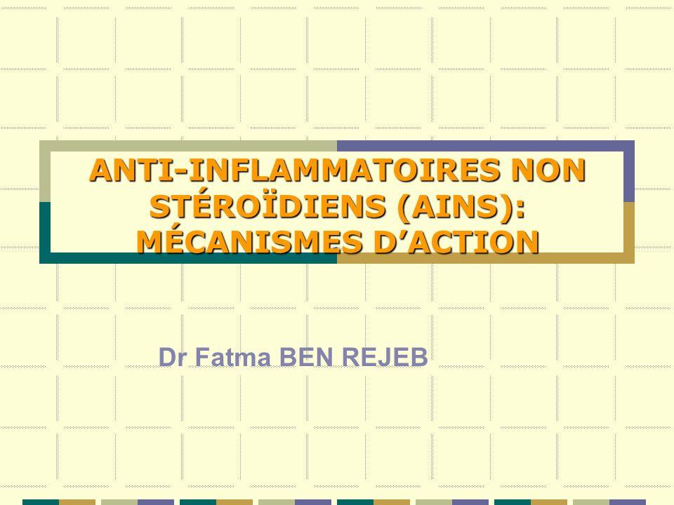 ANTI-INFLAMMATOIRES NON STÉROÏDIENS (AINS): MÉCANISMES DACTION Dr Fatma BEN REJEB