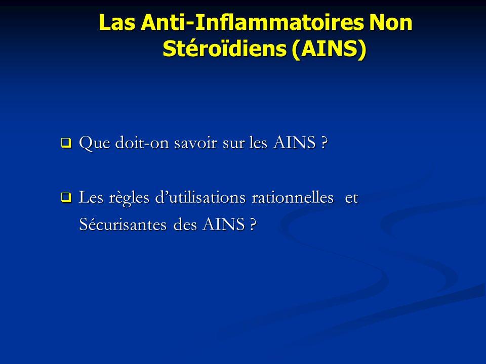 Que doit-on savoir sur les AINS ? Que doit-on savoir sur les AINS ? Les règles dutilisations rationnelles et Les règles dutilisations rationnelles et