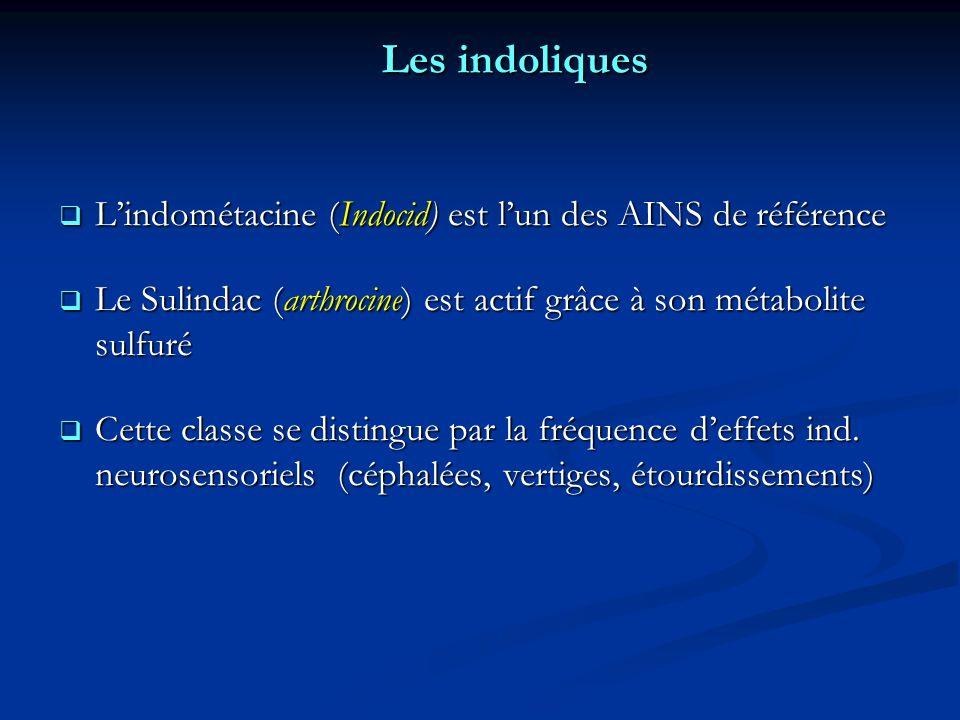 Les indoliques Lindométacine (Indocid) est lun des AINS de référence Lindométacine (Indocid) est lun des AINS de référence Le Sulindac (arthrocine) est actif grâce à son métabolite sulfuré Le Sulindac (arthrocine) est actif grâce à son métabolite sulfuré Cette classe se distingue par la fréquence deffets ind.