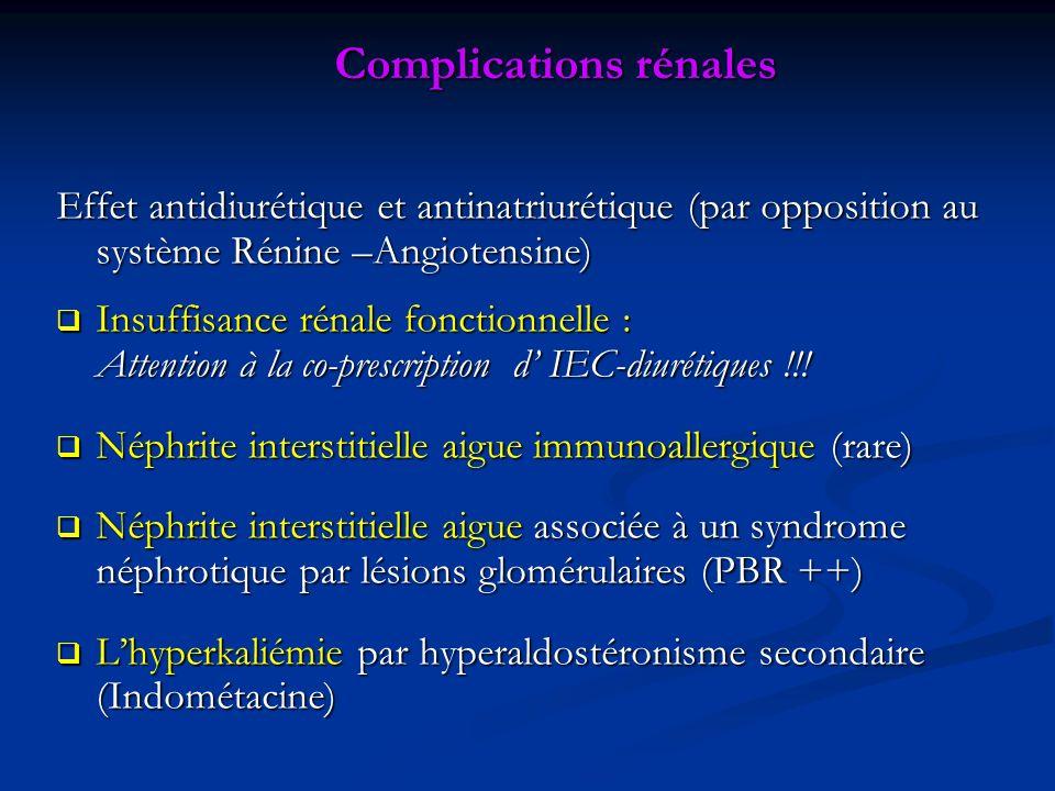 Effet antidiurétique et antinatriurétique (par opposition au système Rénine –Angiotensine) Insuffisance rénale fonctionnelle : Insuffisance rénale fonctionnelle : Attention à la co-prescription d IEC-diurétiques !!.