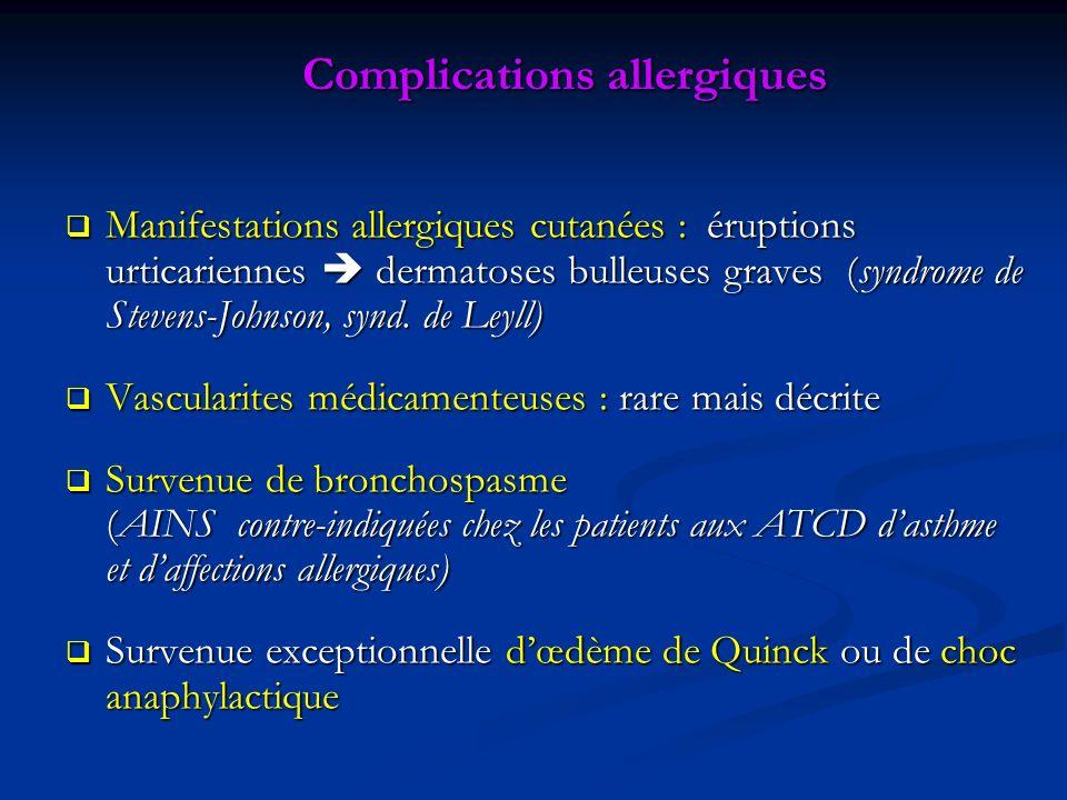Complications allergiques Manifestations allergiques cutanées : éruptions urticariennes dermatoses bulleuses graves (syndrome de Stevens-Johnson, synd.