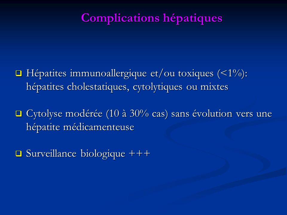 Complications hépatiques Hépatites immunoallergique et/ou toxiques (<1%): hépatites cholestatiques, cytolytiques ou mixtes Hépatites immunoallergique