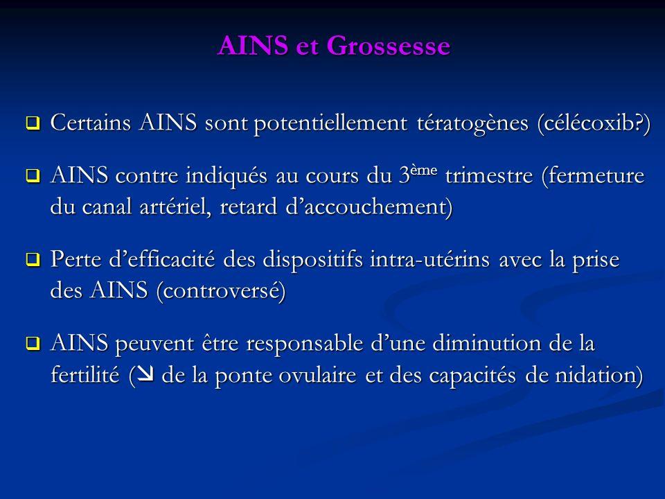 AINS et Grossesse Certains AINS sont potentiellement tératogènes (célécoxib?) Certains AINS sont potentiellement tératogènes (célécoxib?) AINS contre