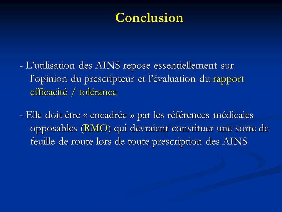 Conclusion - Lutilisation des AINS repose essentiellement sur lopinion du prescripteur et lévaluation du rapport efficacité / tolérance - Elle doit être « encadrée » par les références médicales opposables (RMO) qui devraient constituer une sorte de feuille de route lors de toute prescription des AINS