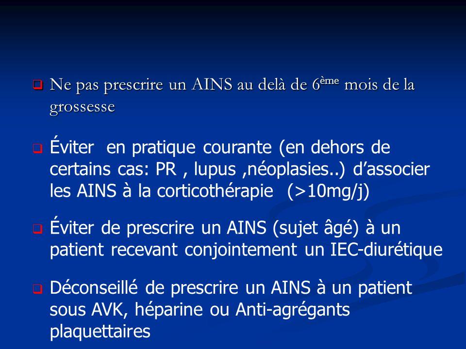 Ne pas prescrire un AINS au delà de 6 ème mois de la grossesse Ne pas prescrire un AINS au delà de 6 ème mois de la grossesse Éviter en pratique courante (en dehors de certains cas: PR, lupus,néoplasies..) dassocier les AINS à la corticothérapie (>10mg/j) Éviter de prescrire un AINS (sujet âgé) à un patient recevant conjointement un IEC-diurétique Déconseillé de prescrire un AINS à un patient sous AVK, héparine ou Anti-agrégants plaquettaires