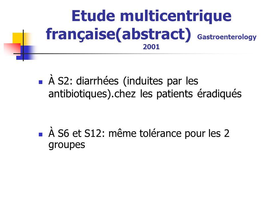 Etude multicentrique française(abstract) Gastroenterology 2001 À S2: diarrhées (induites par les antibiotiques).chez les patients éradiqués À S6 et S12: même tolérance pour les 2 groupes