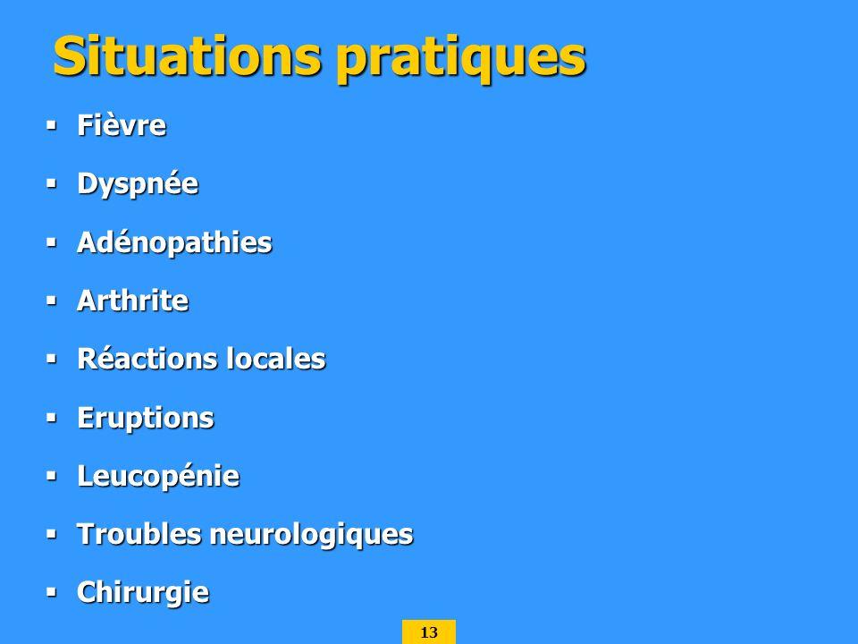 13 Situations pratiques Fièvre Fièvre Dyspnée Dyspnée Adénopathies Adénopathies Arthrite Arthrite Réactions locales Réactions locales Eruptions Erupti