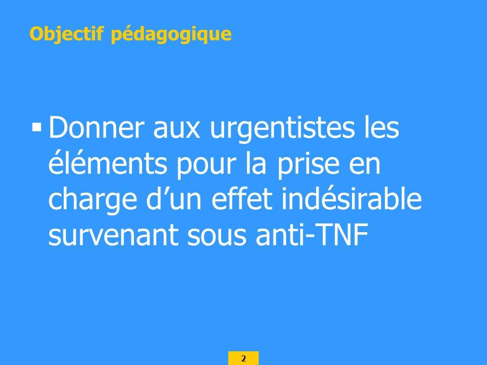 2 Objectif pédagogique Donner aux urgentistes les éléments pour la prise en charge dun effet indésirable survenant sous anti-TNF
