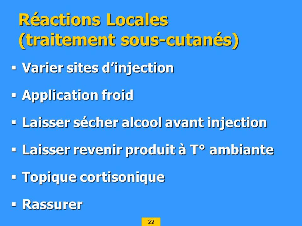 22 Réactions Locales (traitement sous-cutanés) Varier sites dinjection Varier sites dinjection Application froid Application froid Laisser sécher alco