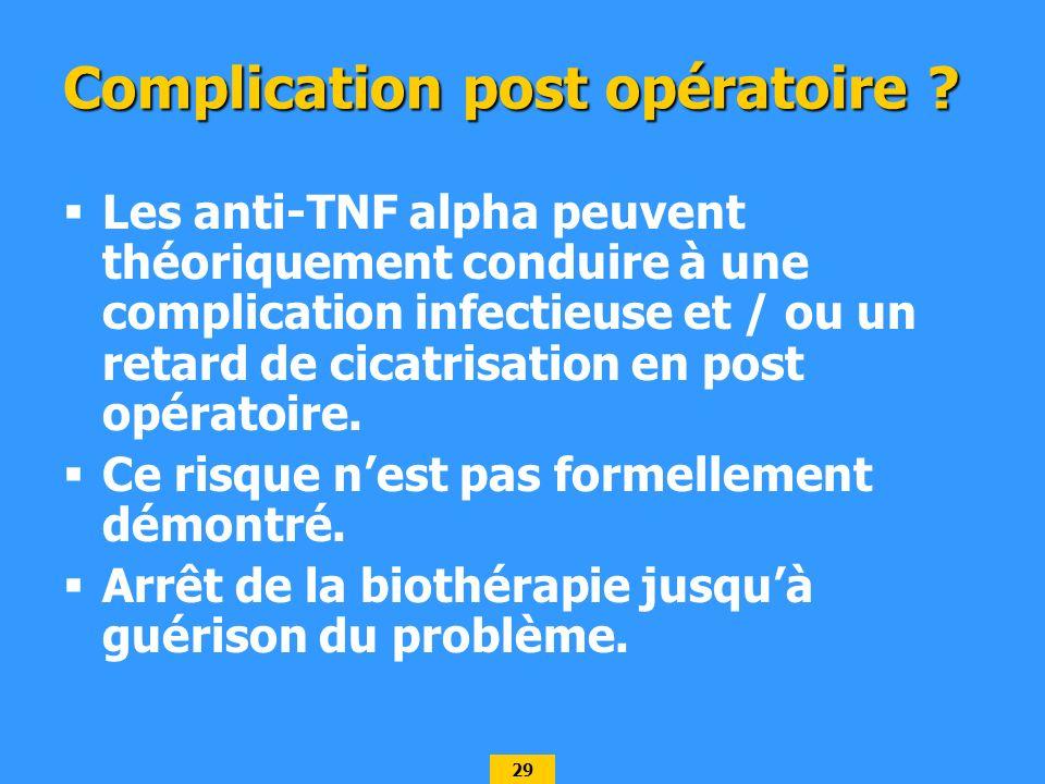29 Complication post opératoire ? Les anti-TNF alpha peuvent théoriquement conduire à une complication infectieuse et / ou un retard de cicatrisation